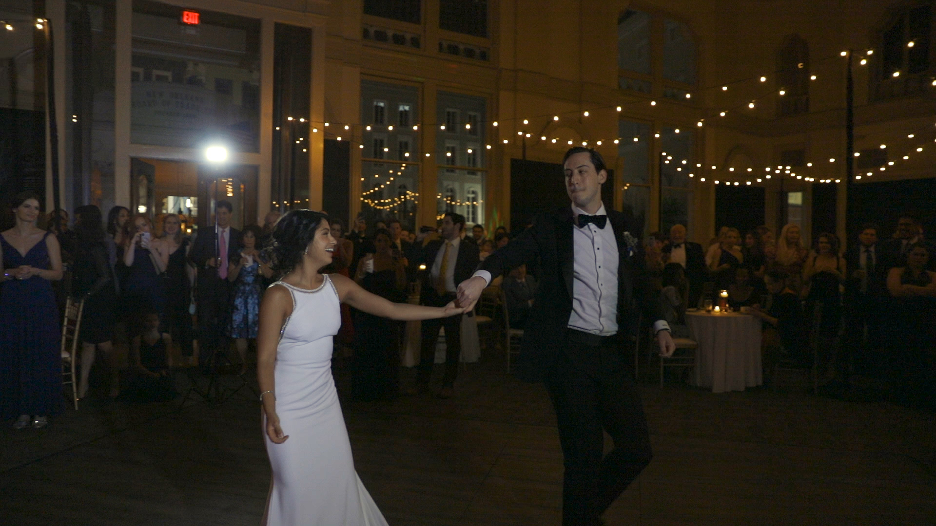 Anya and Max_Rec_First dance wide%0A.jpgAnya and Max_New Orleans Wedding Video_Bride Film_Board of Trade reception_first dance