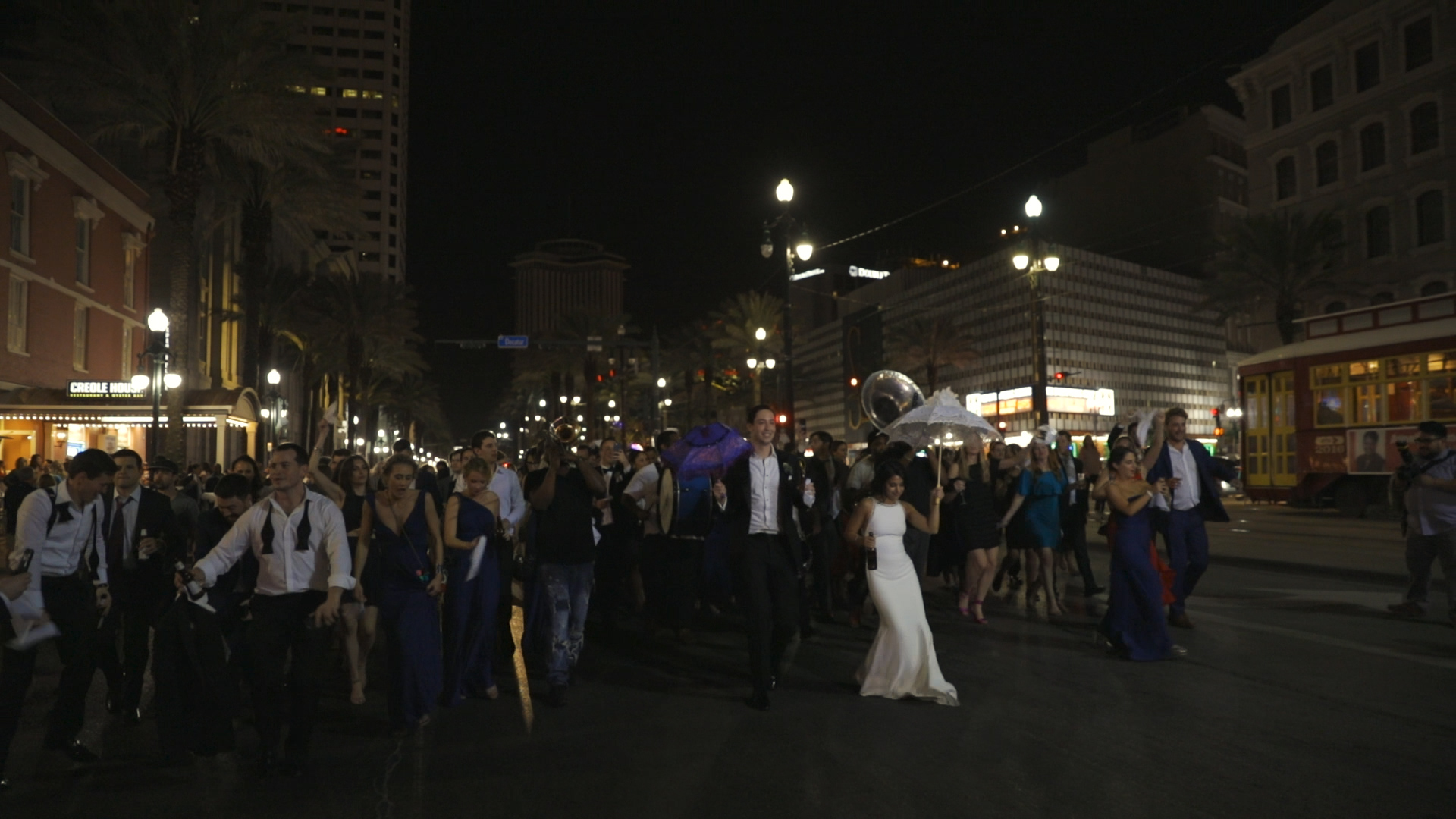 Anya and Max_New Orleans Wedding Video_Bride Film_Board of Trade reception_second line down canal