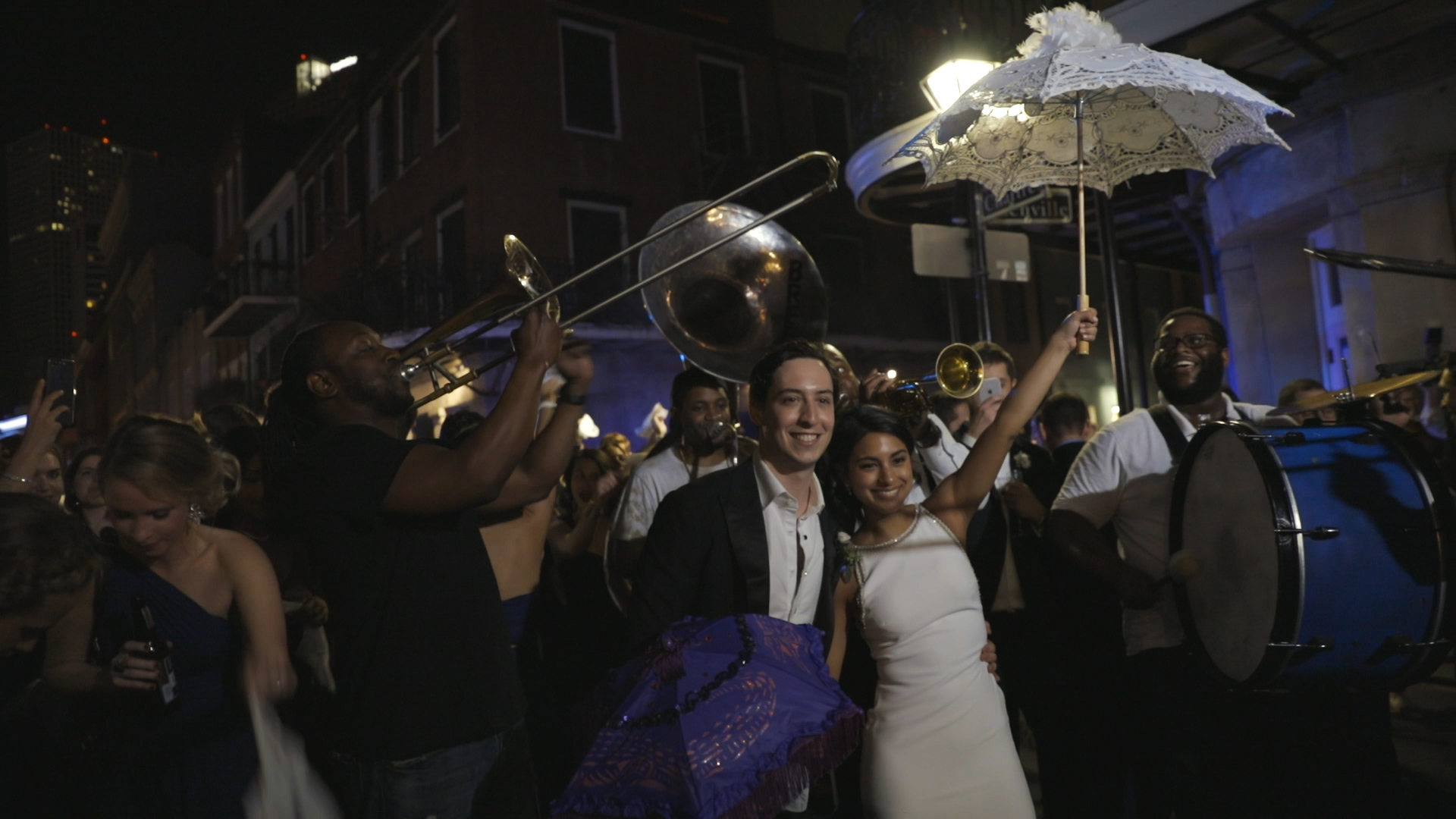 Anya and Max_New Orleans Wedding Video_Bride Film_Board of Trade reception_second line exit