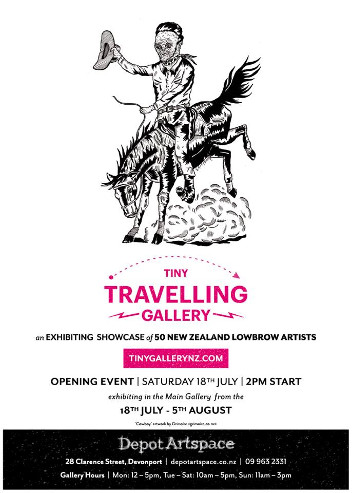 Flyer for Tiny Travelling Gallery.