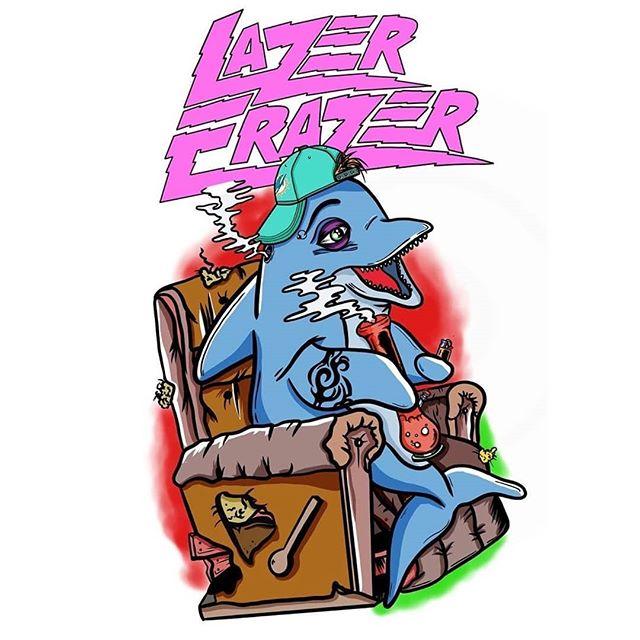For the absolute legend @lazer_erazer who has the best ideas 💪🤙😎 👀🐬 . . Thanks Jade! Logo not by me but it rules 👊 . . #lazererazer #grimoire666 #illustration #design #art #procreate #digitalart #dolphinbong #stoneddolphins #tribaltatz