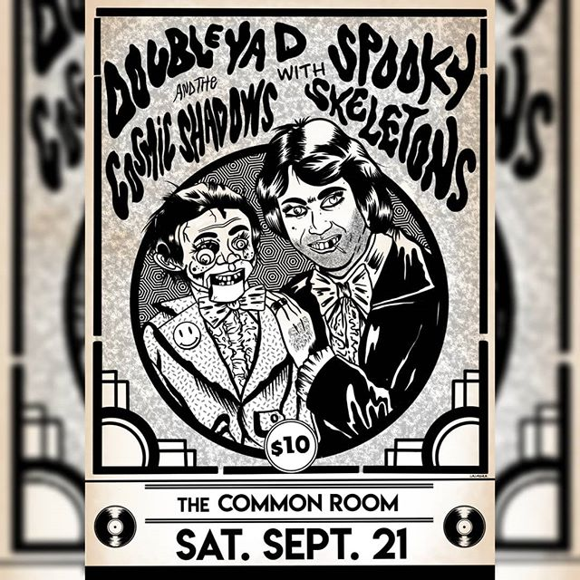 For my my faves @double.ya.d and @spooky_skeletons_band . . Hawkes Bay people don't miss this one, what a lineup and what a bargain . . If you are there early you might even get to meet the mysterious Balinese boat man with his magical bag of tricks! . . #grimoire666 #illustration #design #art #procreate #digitalart #psychedelicart #doubleyad #spookyskeletons #cosmicshadows