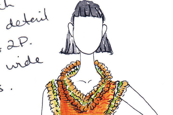 INSPIRATION: Hand drawn fashion illustration focusing on edge detailing