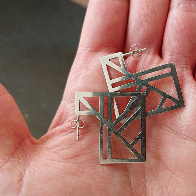 My very first design cut and soldered off my jewellery bench! Certainly not perfect but I'm excited. Can't wait to wear them.  #offthebench #silver #silverearrings #silversmithing #silverjewellery #makersgonnamake #handmade #handmadejewelry