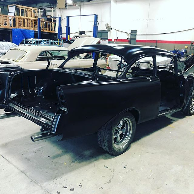 '56 got new pans through out, she's all sealed up for the final blocking, then it's on to paint. #belair #56belair #56chevy #hotrod #hotrodsandmusclecars #classicchevy #clean #classiccars