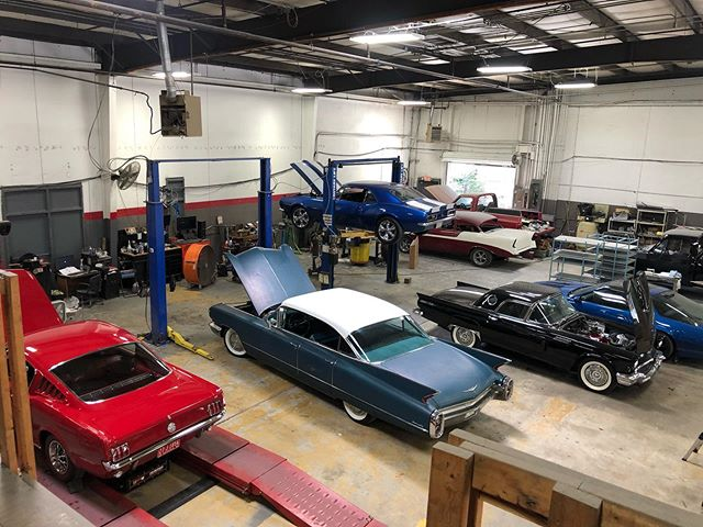 Which one are you taking home this weekend? #flashbackfriday on Saturday.  Not a bad crew to be hanging out with at the shop. #caddilac #mustang #iroc #camaro #hotrod #tbird #belair #k5 #marietta #classiccars #nofilter #vroomvroom #noreplacementfordisplacement #v8