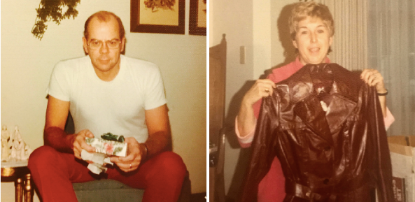 Bill and Barb exchanging Christmas gifts in 1971. The coat was loved dearly due to the help of my mother-in-law