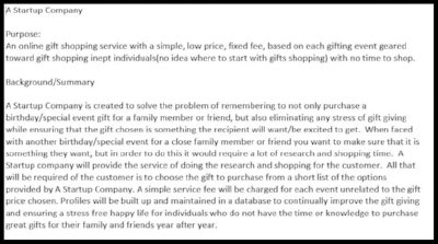 Above is a snippet of giftUP's original business plan!
