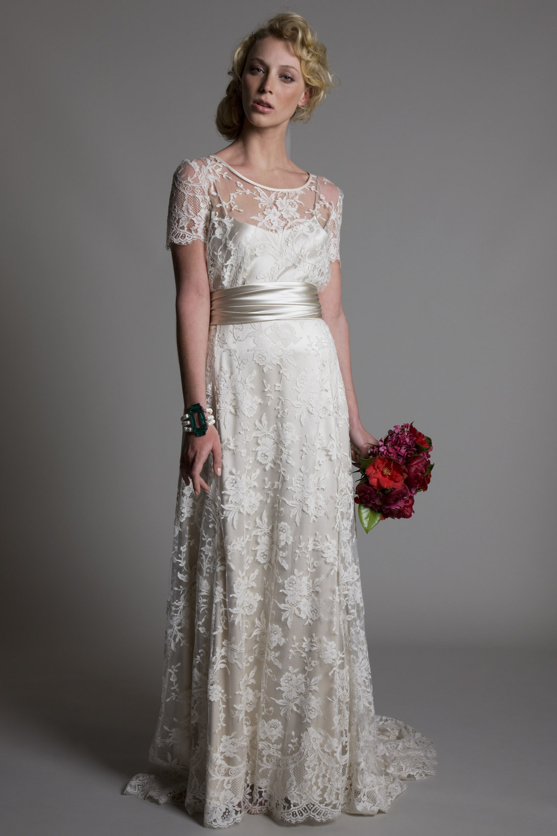 Annabelle french lace tee paired with the French lace Bella A line skirt and wrapped satin belt bridal wedding dress by Halfpenny London