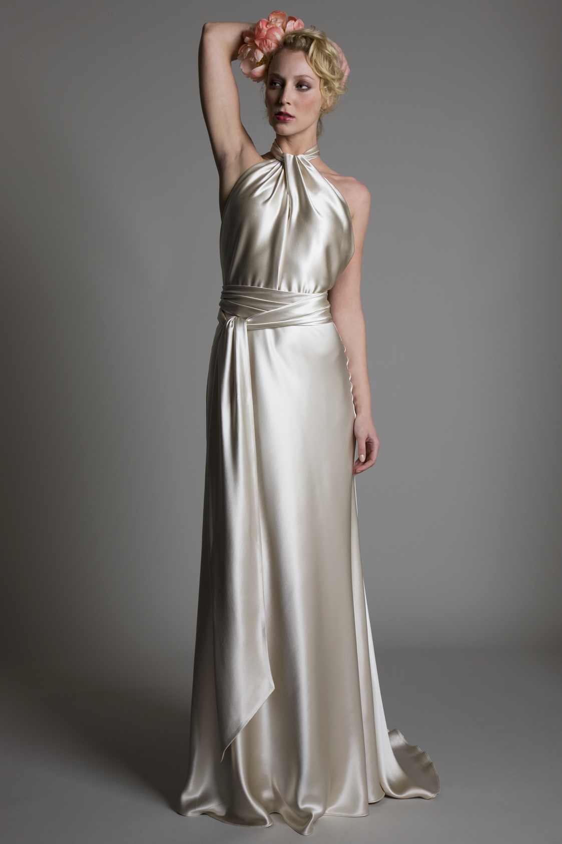 Claudia satin halter neck bridal wedding dress with satin belt detail by Halfpenny London