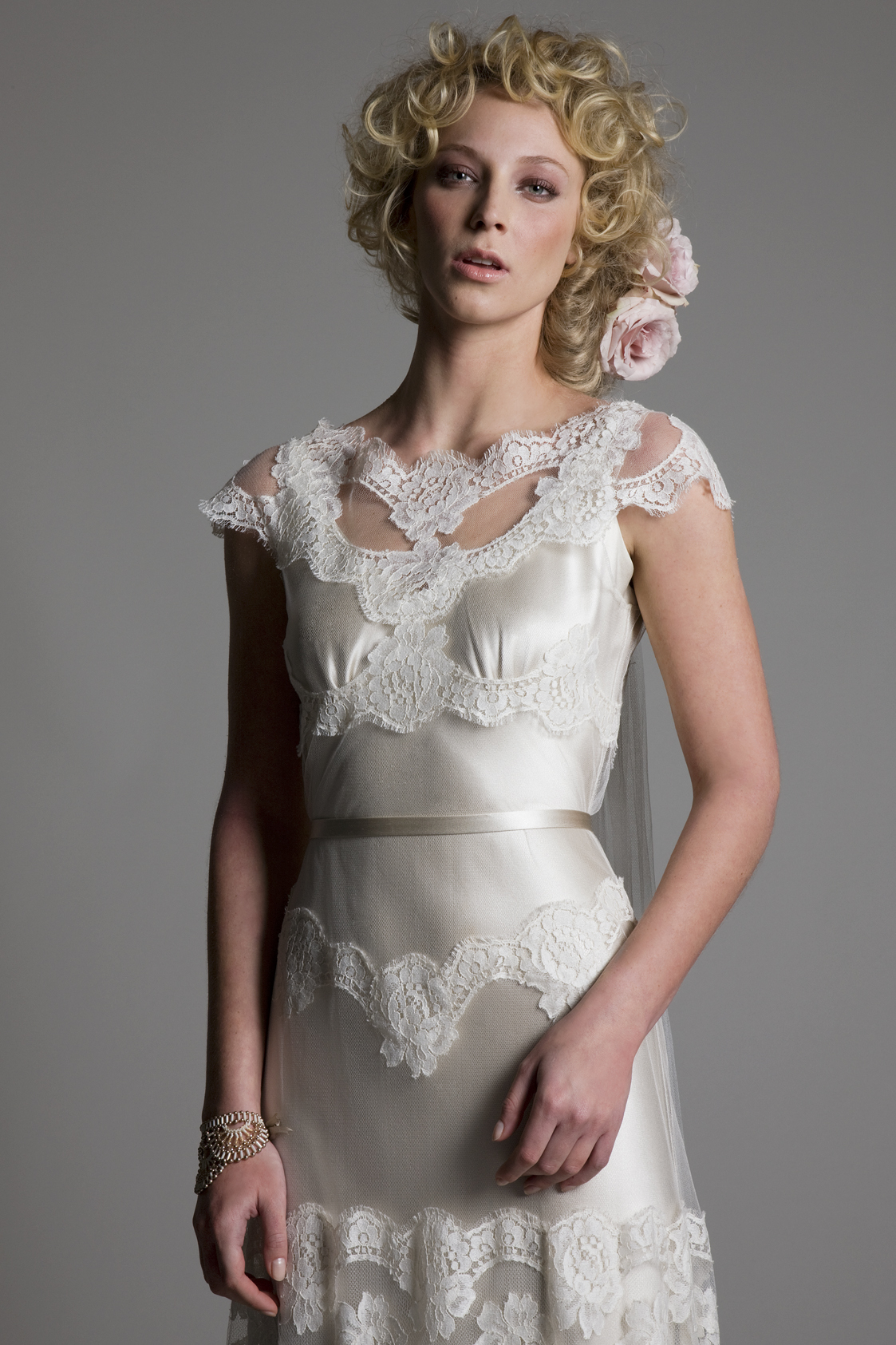 Detailed view of the Emily Tulle and French Lace Dress with Narrow Belt Bridal Wedding Dress by Halfpenny London