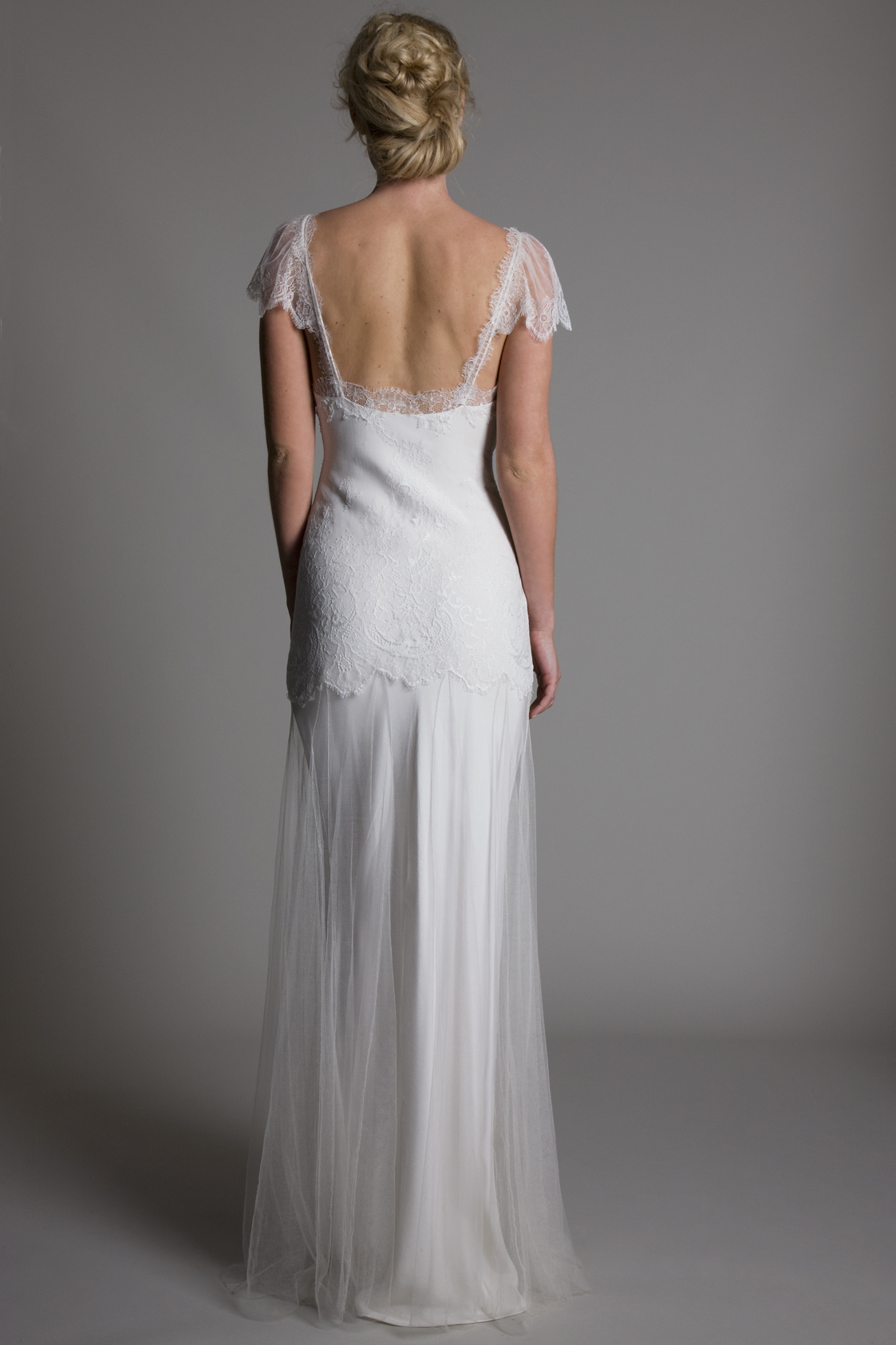 Back view of the Kate chantilly lace bodice and cap sleeves with tulle skirt and satin scoop neck slip bridal wedding dress by Halfpenny London