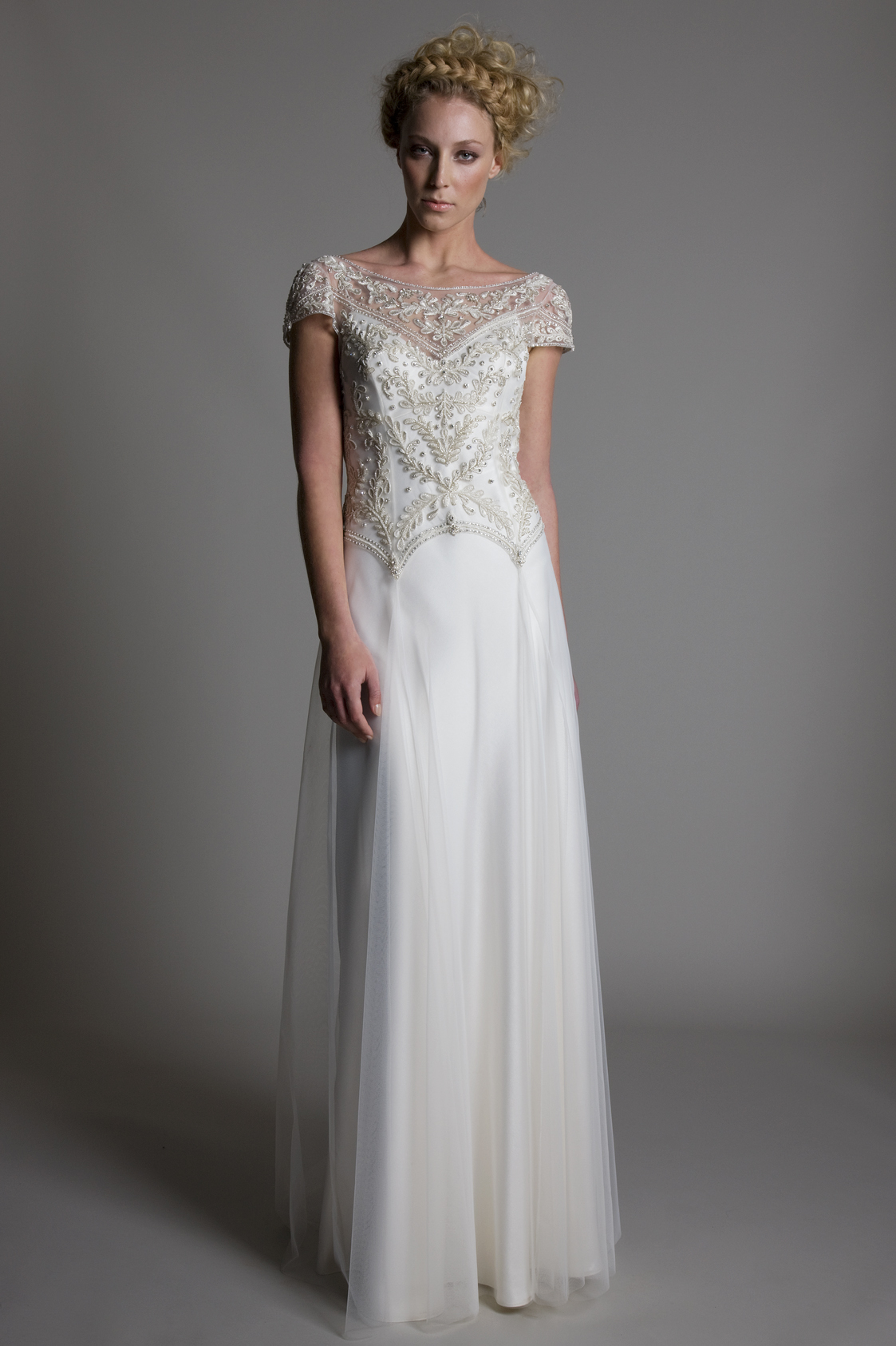 Marianne embellished beaded detailed cap sleeved bodice with tulle skirt on top of a V neck ivory satin slip bridal wedding dress by Halfpenny London