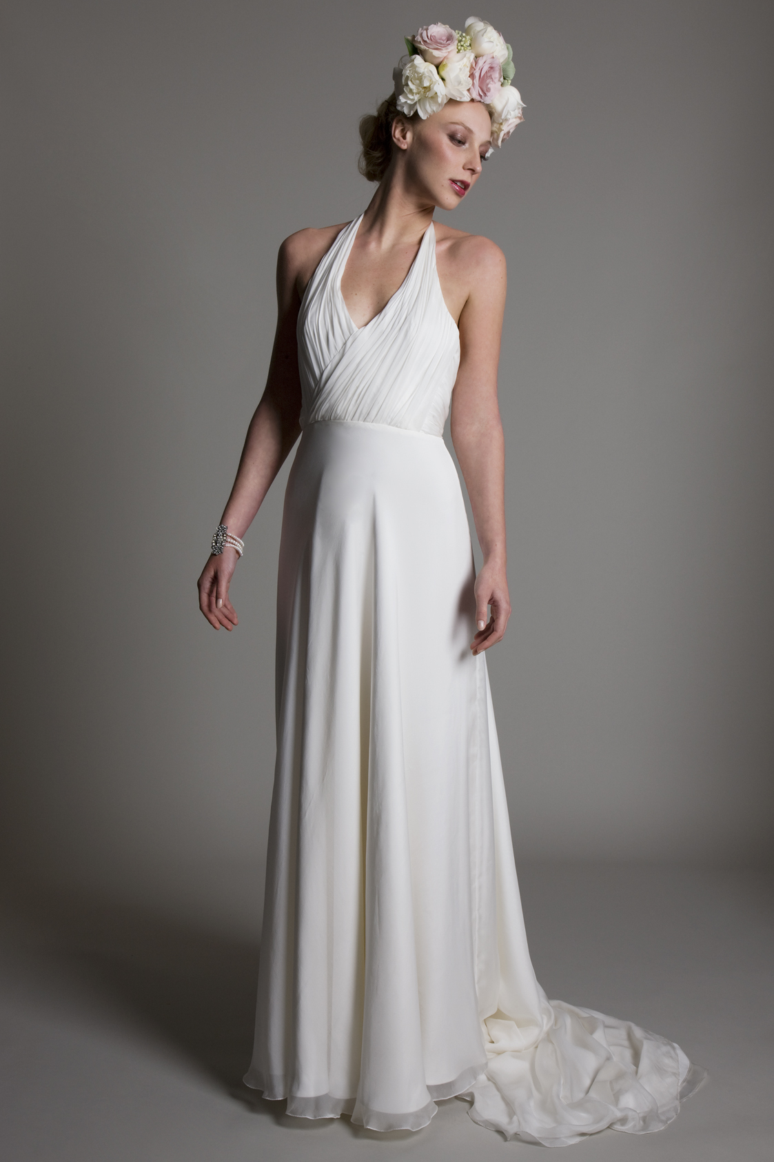 Marilyn halter neck chiffon gathered top with chiffon A line skirt and low back bridal wedding dress by Halfpenny London