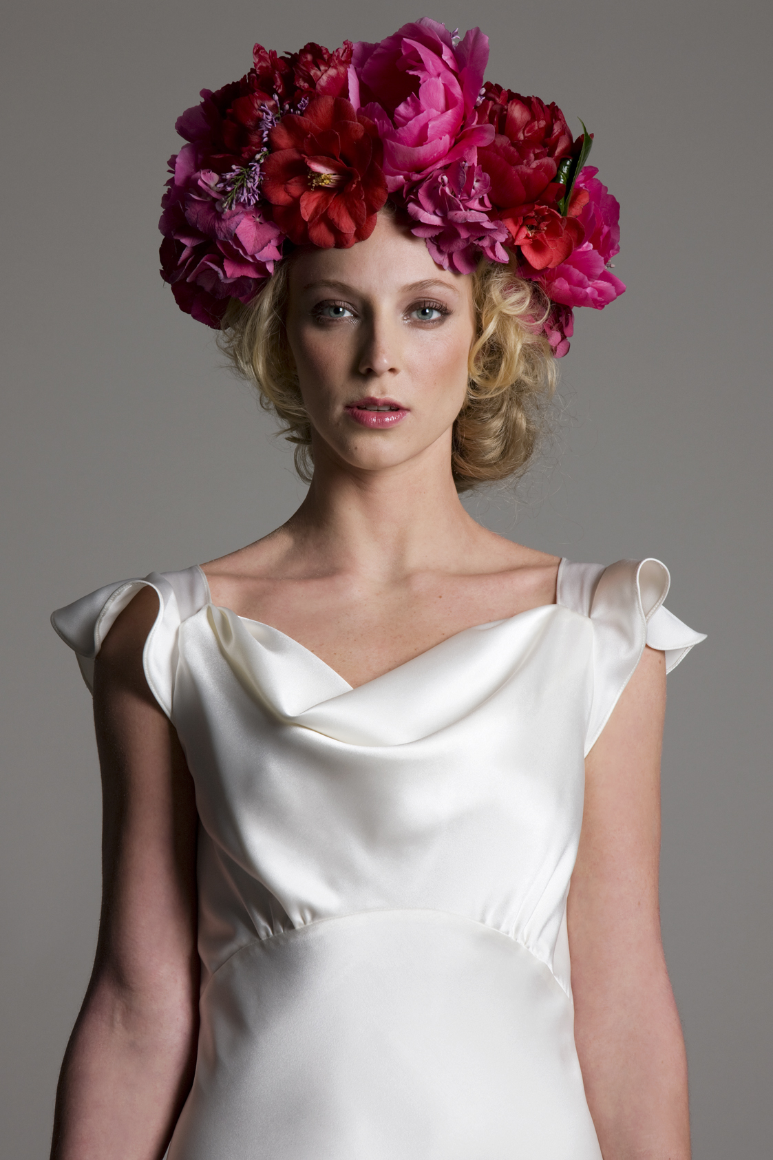 Detailed view of the Sarah soft cowl neck and empire line bias cut satin bridal wedding dress by Halfpenny London