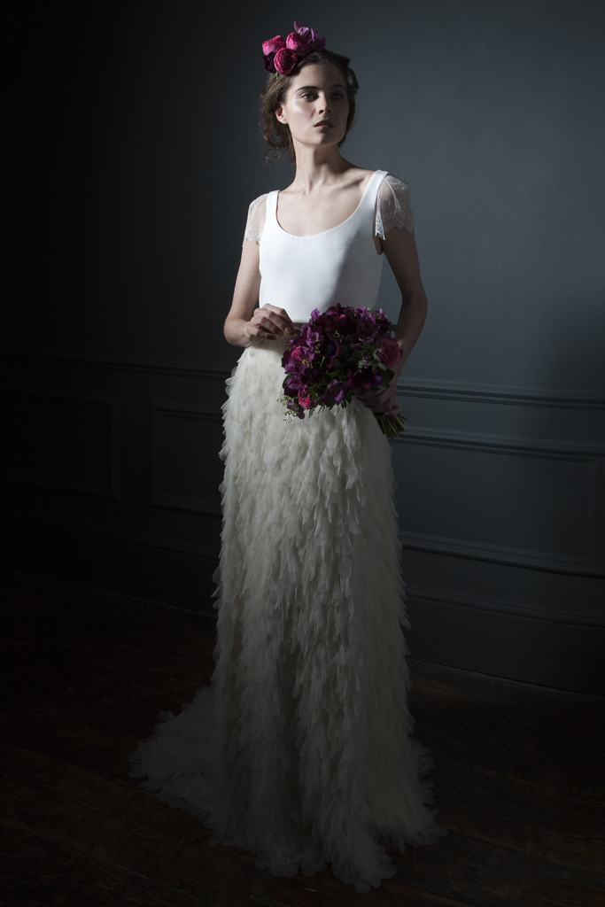 Front View of the Swan silk tulle skirt with buddle train, paired with a silk crepe tee with chantilly lace sleeves bridal wedding dress by Halfpenny London