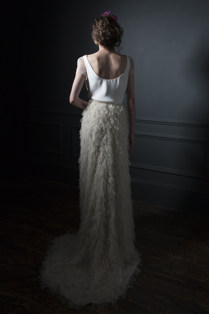 Back view of the Swan silk tulle skirt with buddle train, paired with a silk crepe tee with chantilly lace sleeves bridal wedding dress by Halfpenny London