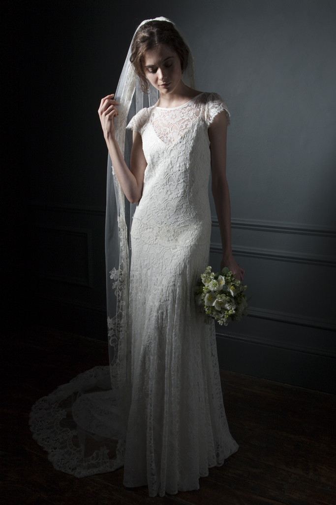 The Violet Full french lace, drop waist, high neck wedding dress with cap sleeves and V neck crepe back silk Slip Bridal wedding dress by Halfpenny London