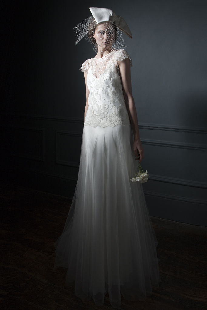 Iris classic silk tulle skirt and french lace cap sleeve wedding and silk crepe back satin V Neck and back Slip bridal wedding dress by Halfpenny London