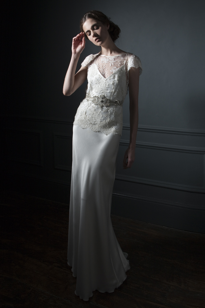 Iris Jacket over Iris satin slip with Silver embroidered belt bridal wedding dress by Halfpenny London