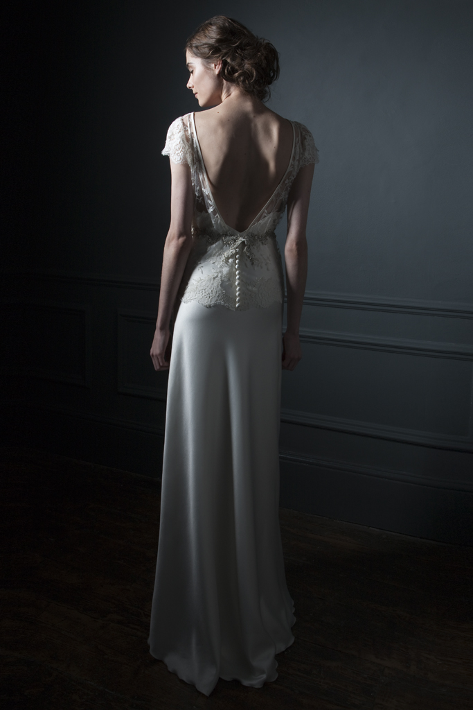 Back view of the Iris jacket over Iris satin slip with Silver embroidered belt bridal wedding dress by Halfpenny London