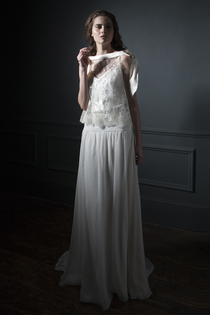 Front View of the Irene French Lace high neck Tee with silk bow detailing on the shoulder, paired with the Laura dropped waist chiffon skirt bridal wedding by Halfpenny London