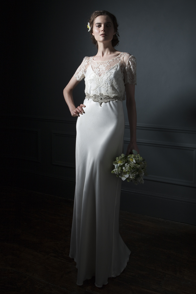 Annabel Lace Tee over Iris Satin slip with silver embroidered belt bridal wedding dress by Halfpenny London