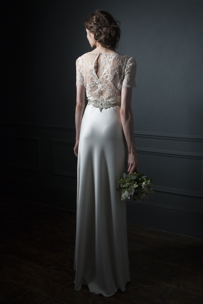 Back view of the Annabel Lace Tee over Iris Satin slip with silver embroidered belt bridal wedding dress by Halfpenny London