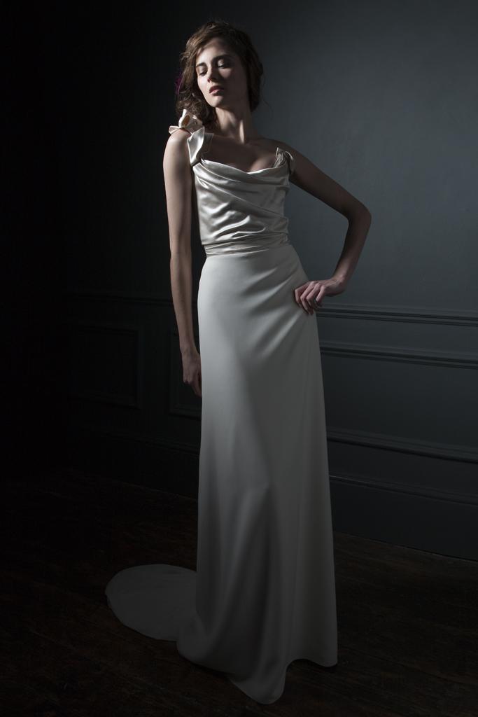 Andrea Duchess silk corset and crepe column skirt bridal wedding dress by Halfpenny London