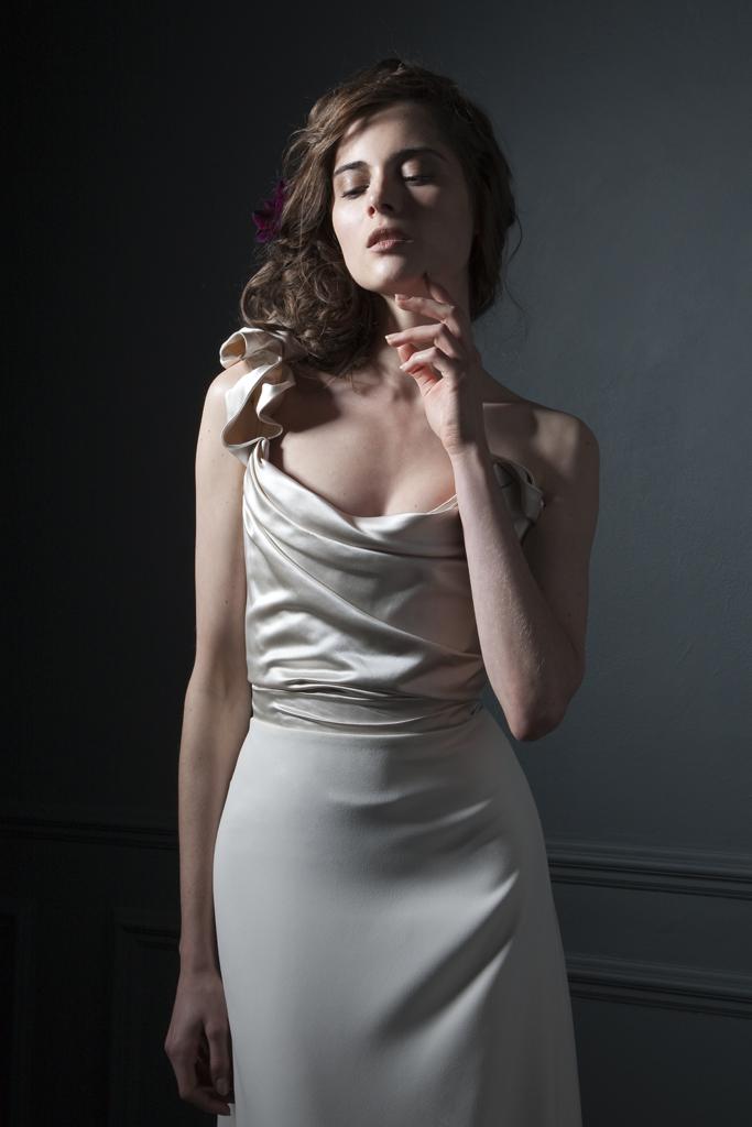 Andrea Duchess silk corset and crepe column skirt
