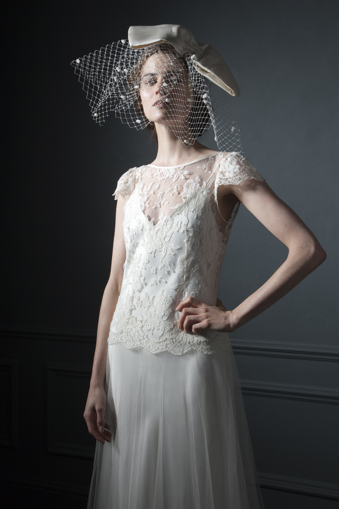 Detailed view of the Iris classic silk tulle skirt and french lace cap sleeve wedding and silk crepe back satin V Neck and back Slip bridal wedding dress by Halfpenny London