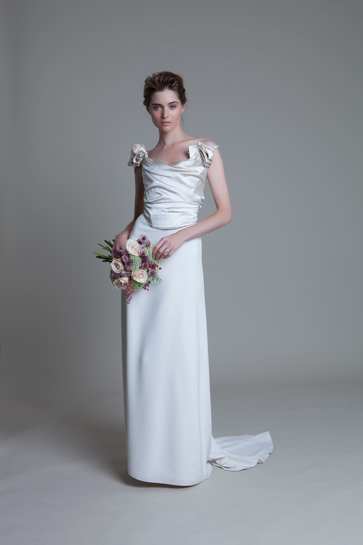 Andrea Duchess Silk Corset Crepe Column Ivory Skirt with buddle train Bridal Wedding Dress by Halfpenny London