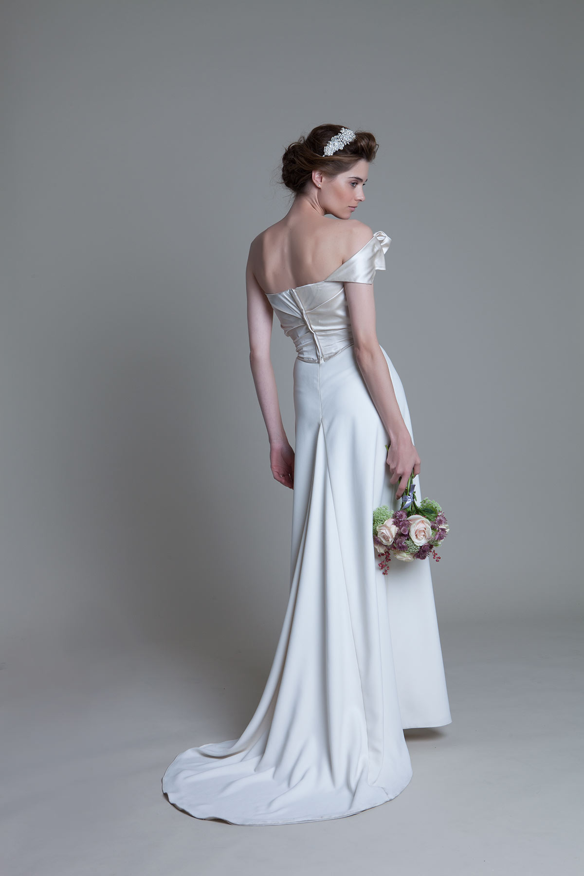 Back view of the Andrea Duchess Silk Corset Crepe Column Ivory Skirt with buddle train Bridal Wedding Dress by Halfpenny London