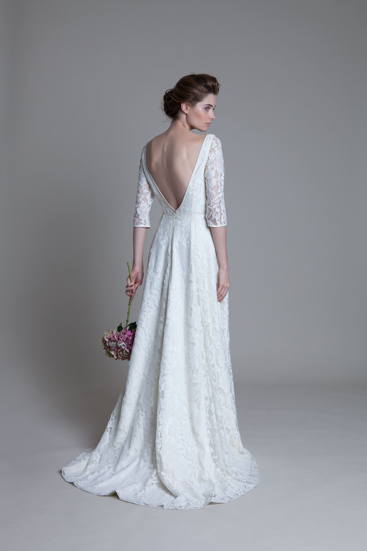 Back view of the Antonia ivory lace bridal wedding dress by Halfpenny London