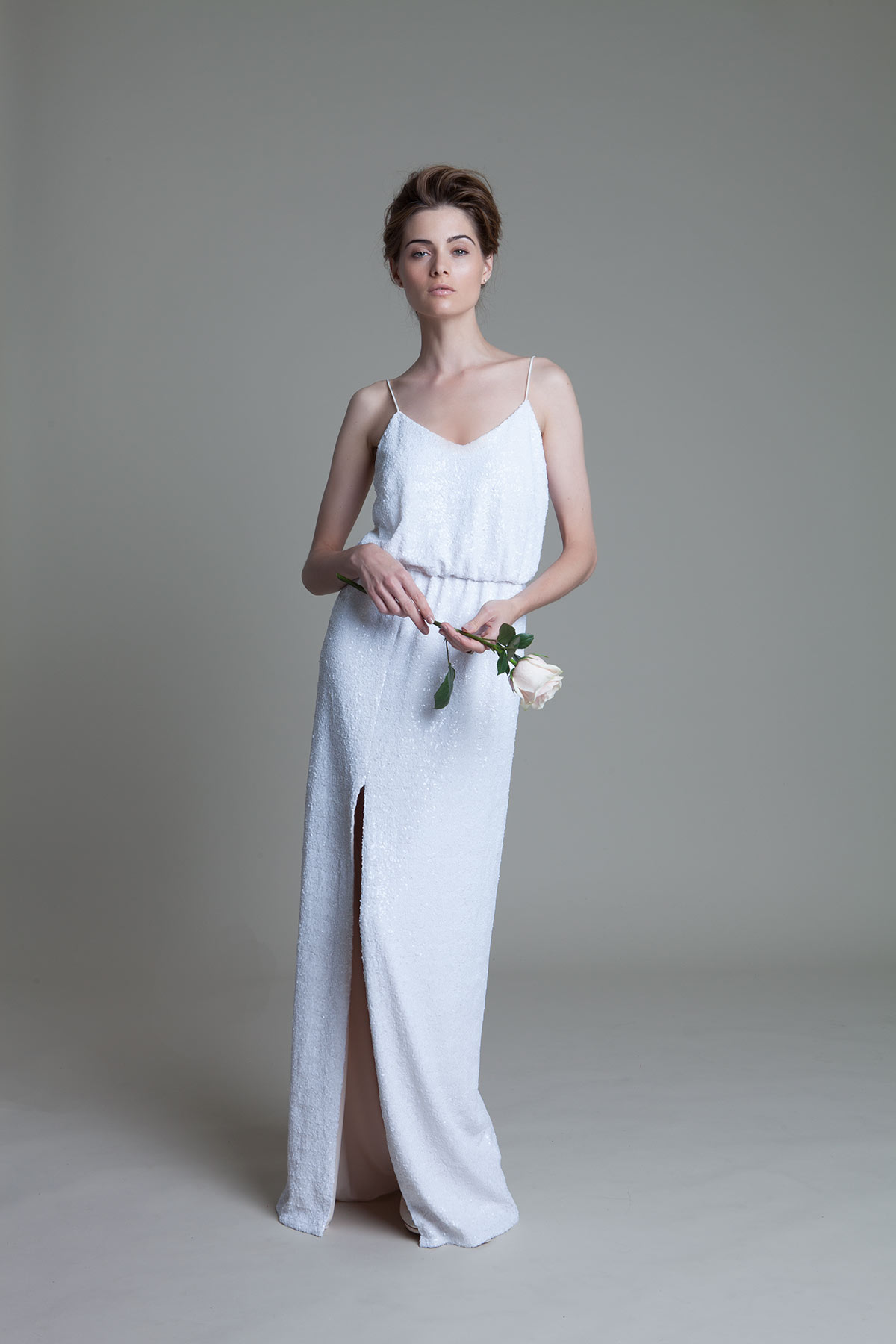 Celeste Sequinned Dress with High Slit Wedding Dress by Halfpenny London