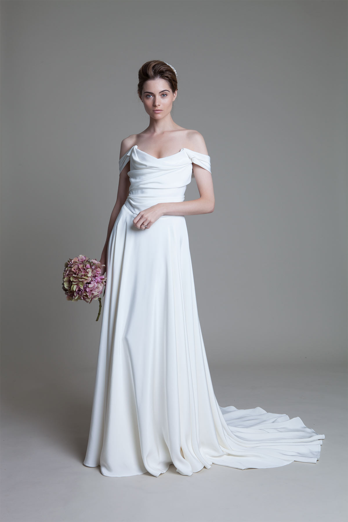 Charlotte silk crepe corset wedding dress with full circle skirt by Halfpenny London