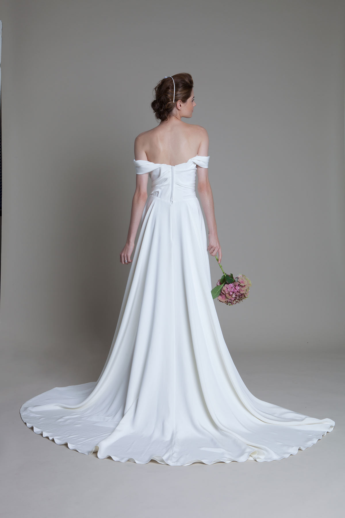 Back view of the charlotte silk crepe corset wedding dress with full circle skirt by Halfpenny London