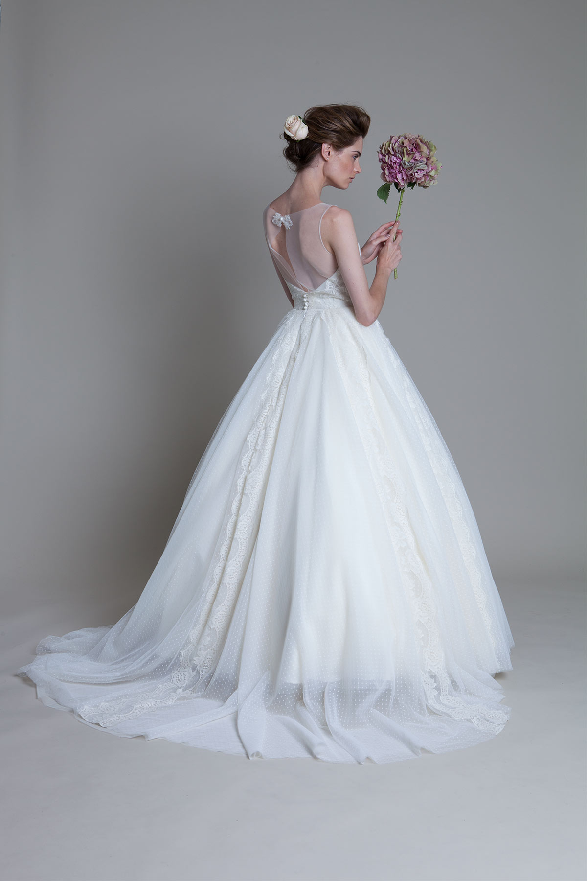 Back view of the Circus circle skirt with french lace detail bridal wedding dress by Halfpenny London