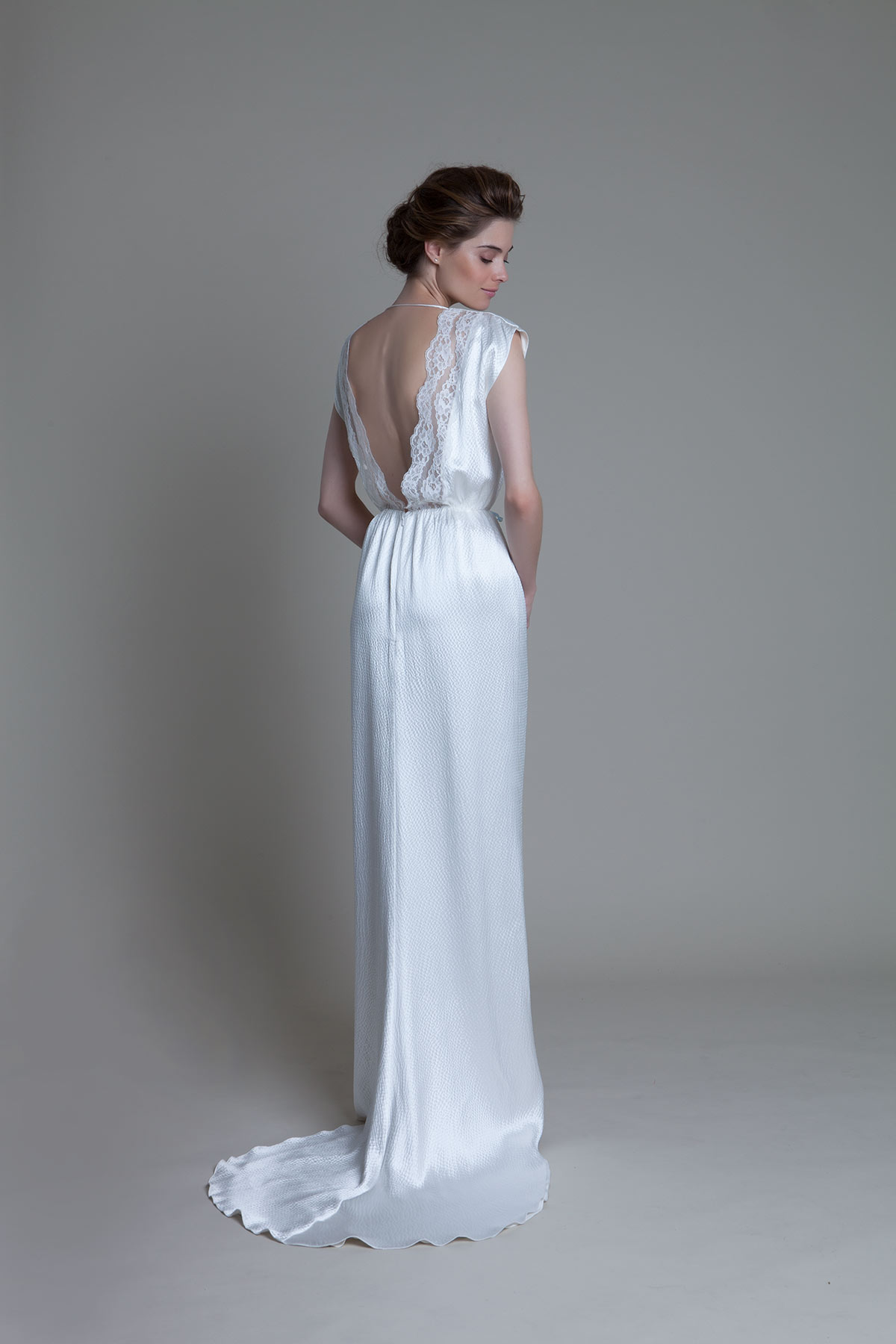 Back view of the Hennie hammered silk backless bridal wedding dress by Halfpenny London