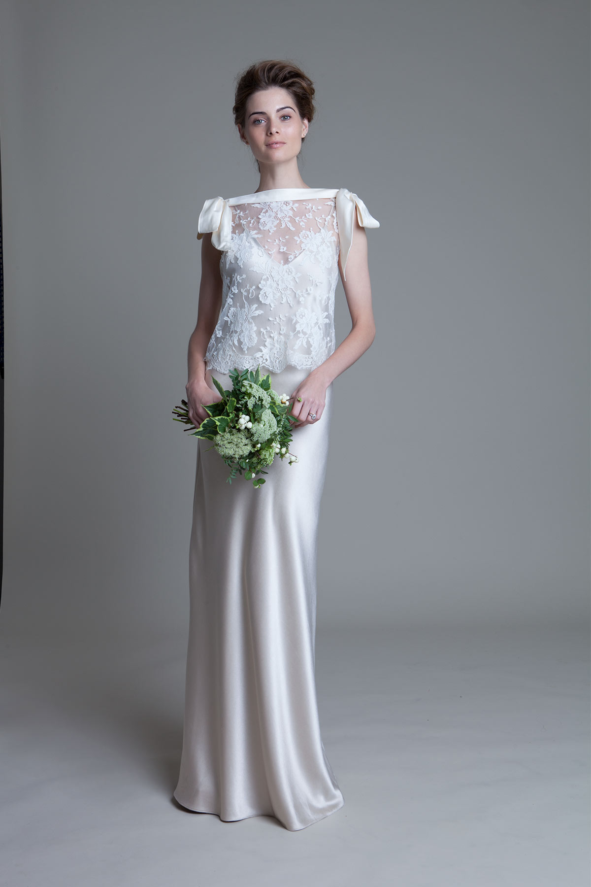 Irene french lace top with blush Iris slip wedding dress by Halfpenny London