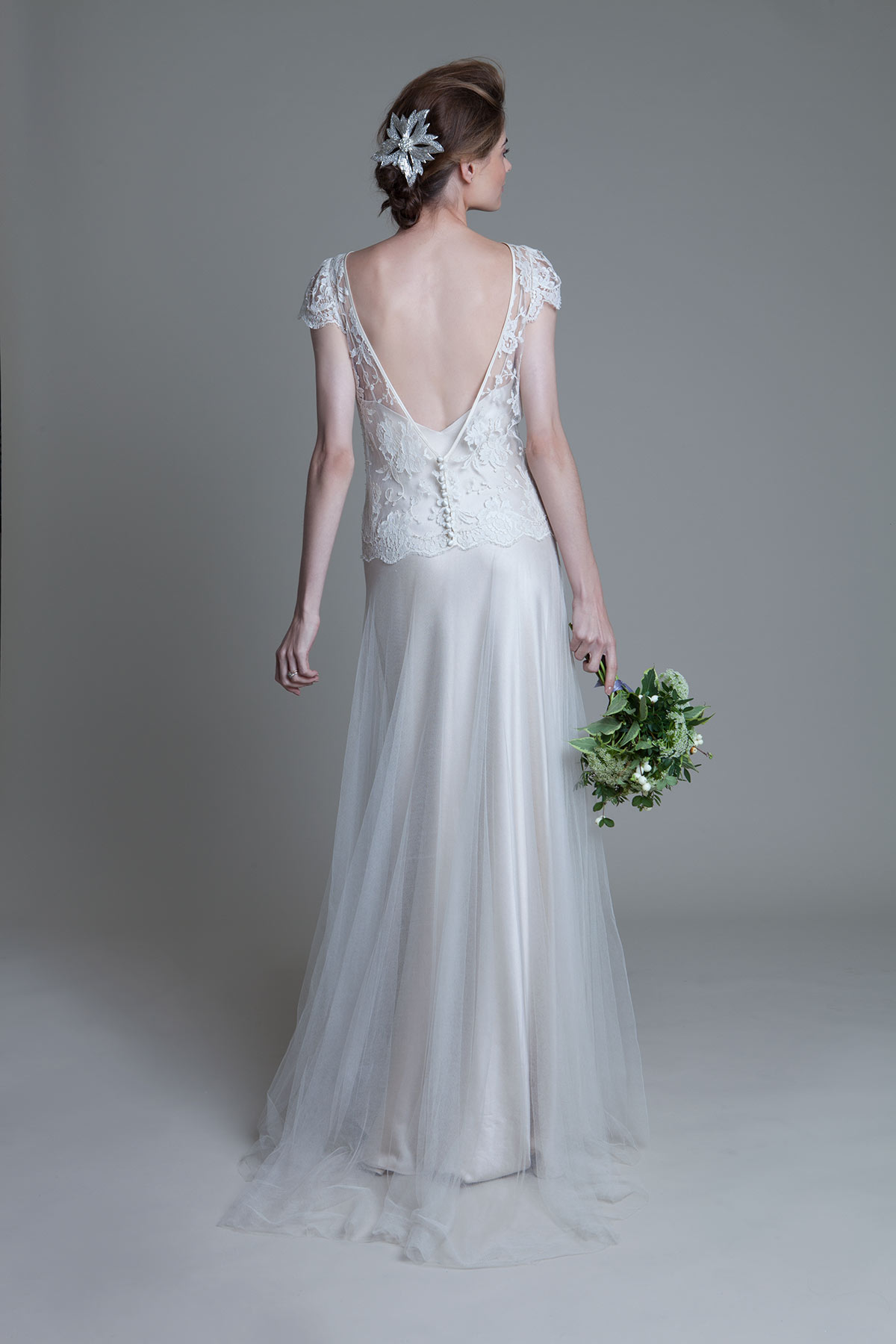Back view of the Iris Classic with cap lace sleeves tulle skirt and Iris crepe backed satin slip by Halfpenny London