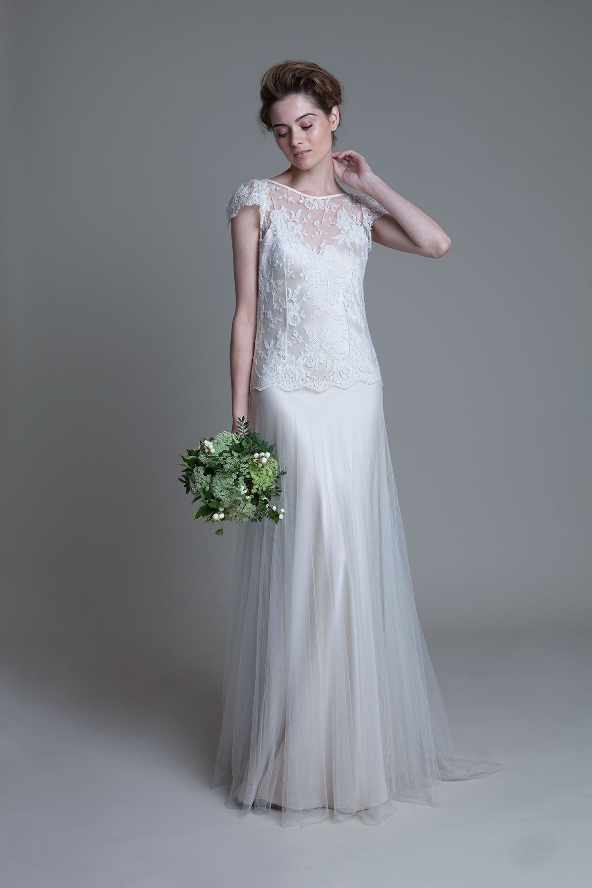 Iris Jane French Chantilly Lace and Tulle Bridal Wedding Dress by Halfpenny London