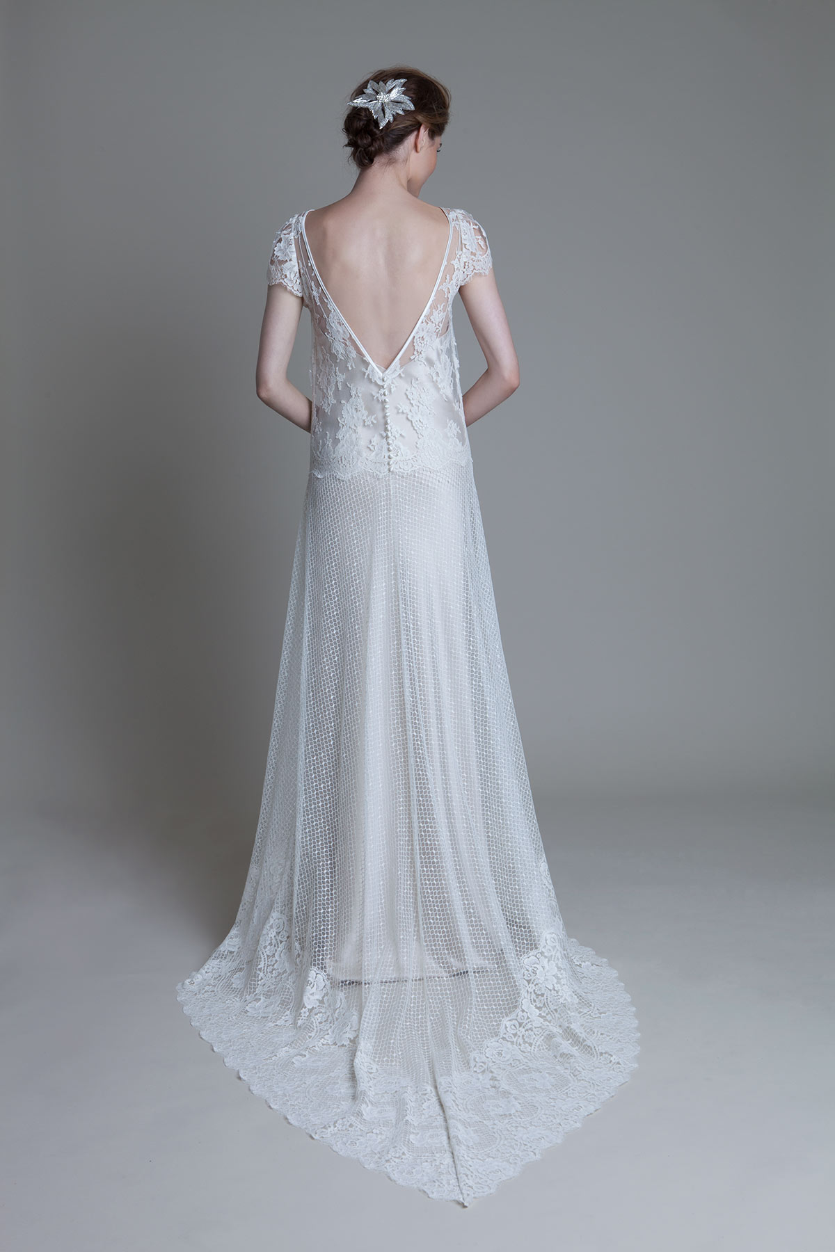 Back view of the Iris Honeycomb with lace cap sleeve and blush Iris Slip wedding dress by Halfpenny London