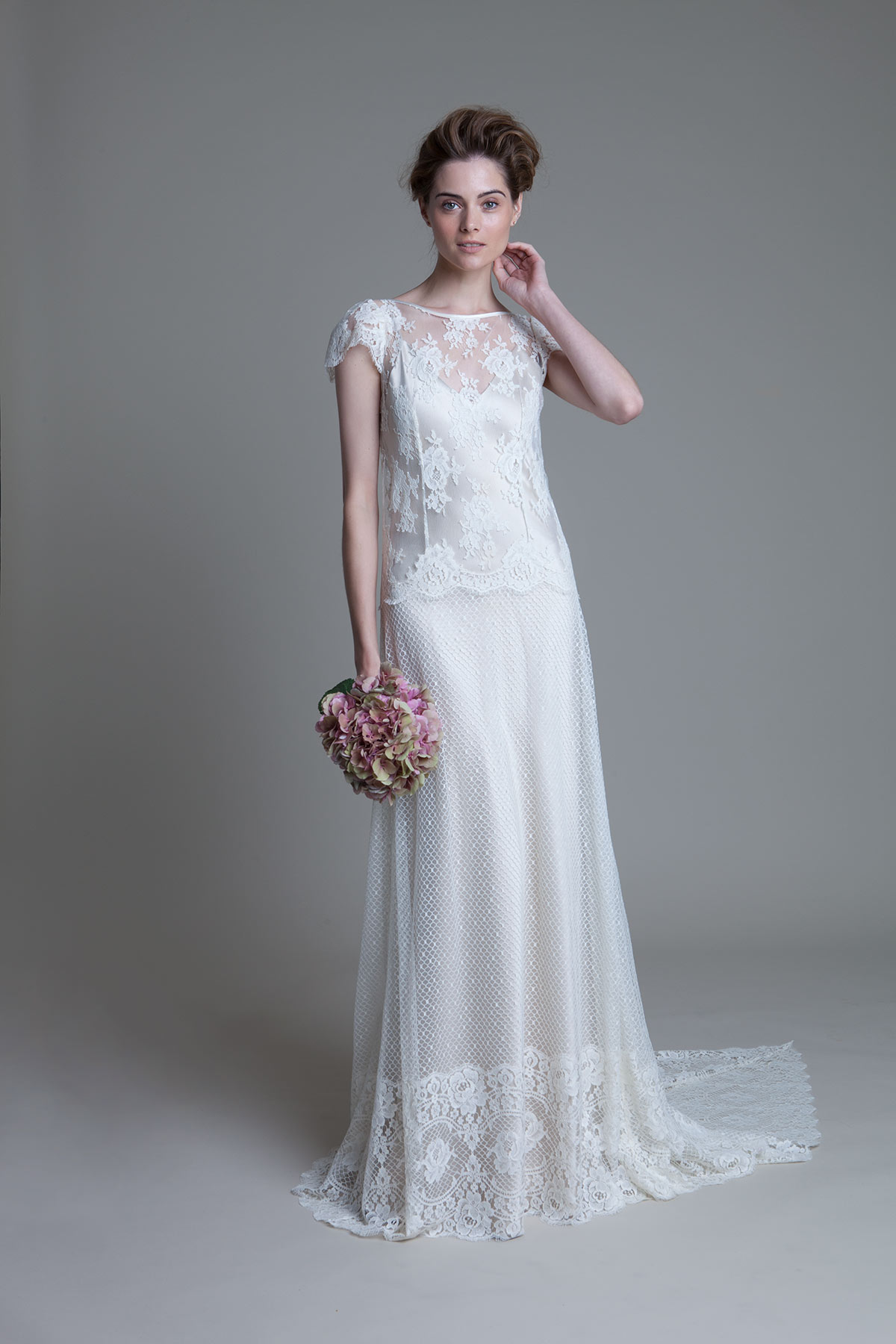 Iris Honeycomb with lace cap sleeve and blush Iris Slip wedding dress by Halfpenny London
