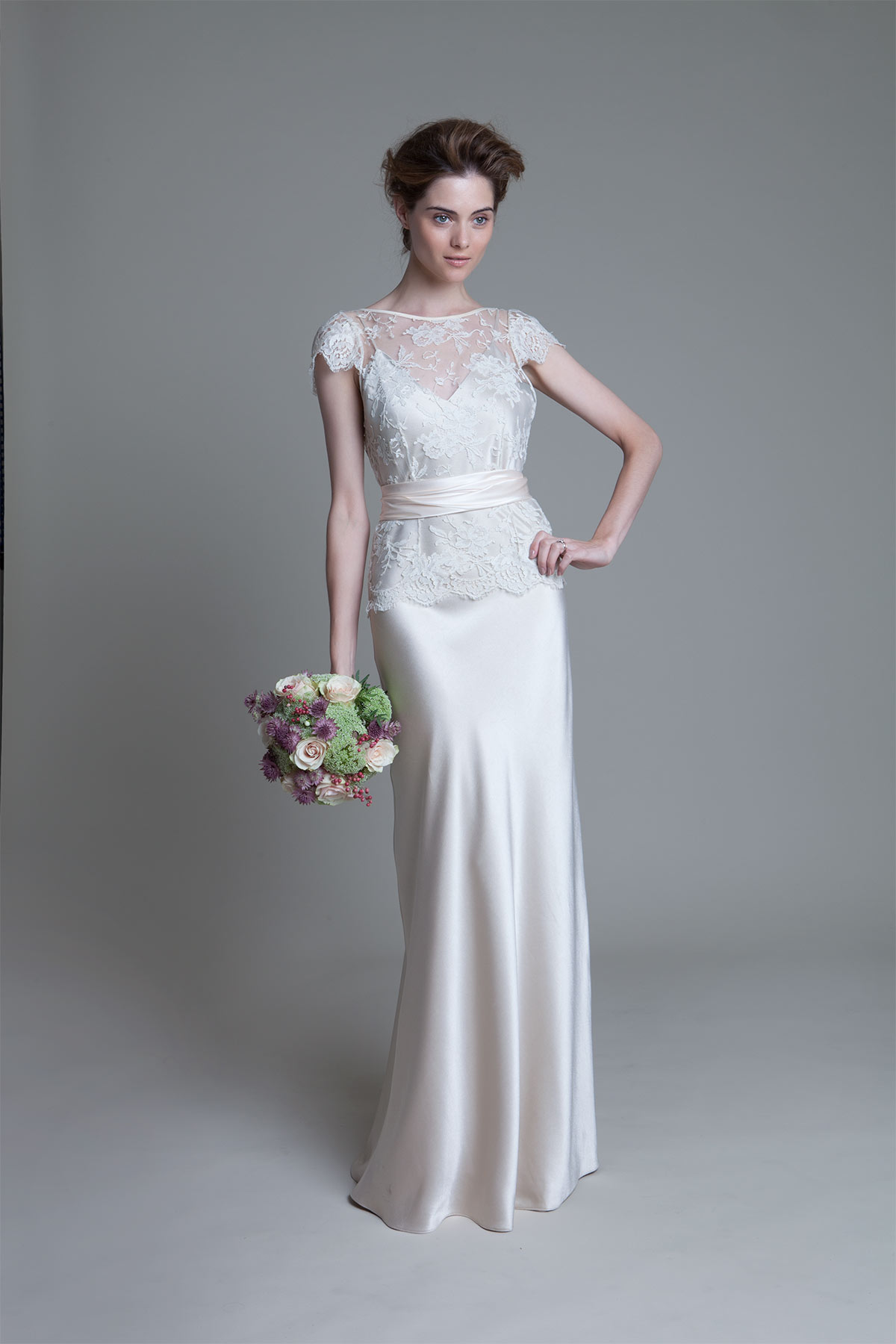 Iris french lace jacket with duchess satin sash over a crepe back satin Iris slip wedding dress by Halfpenny London