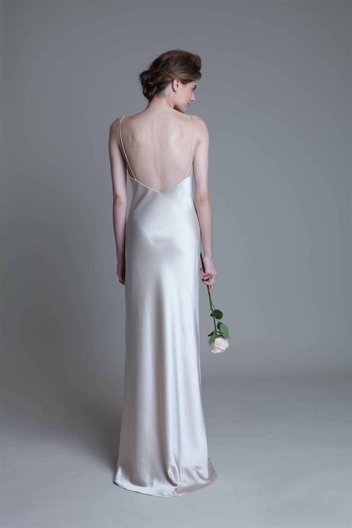 Back view of the ivory Iris slip wedding dress by Halfpenny London