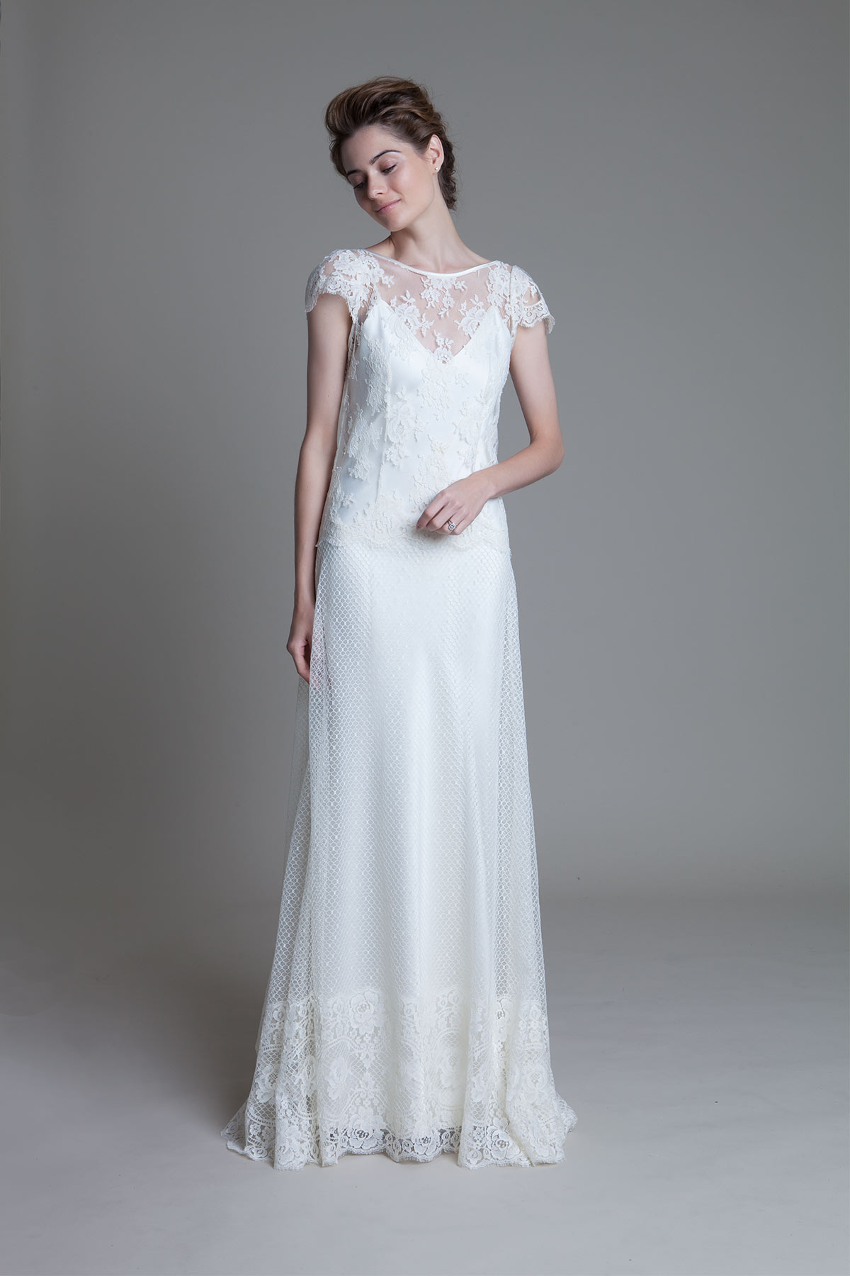 Ivory Iris rose french lace over an ivory V neck slip wedding dress by Halfpenny London