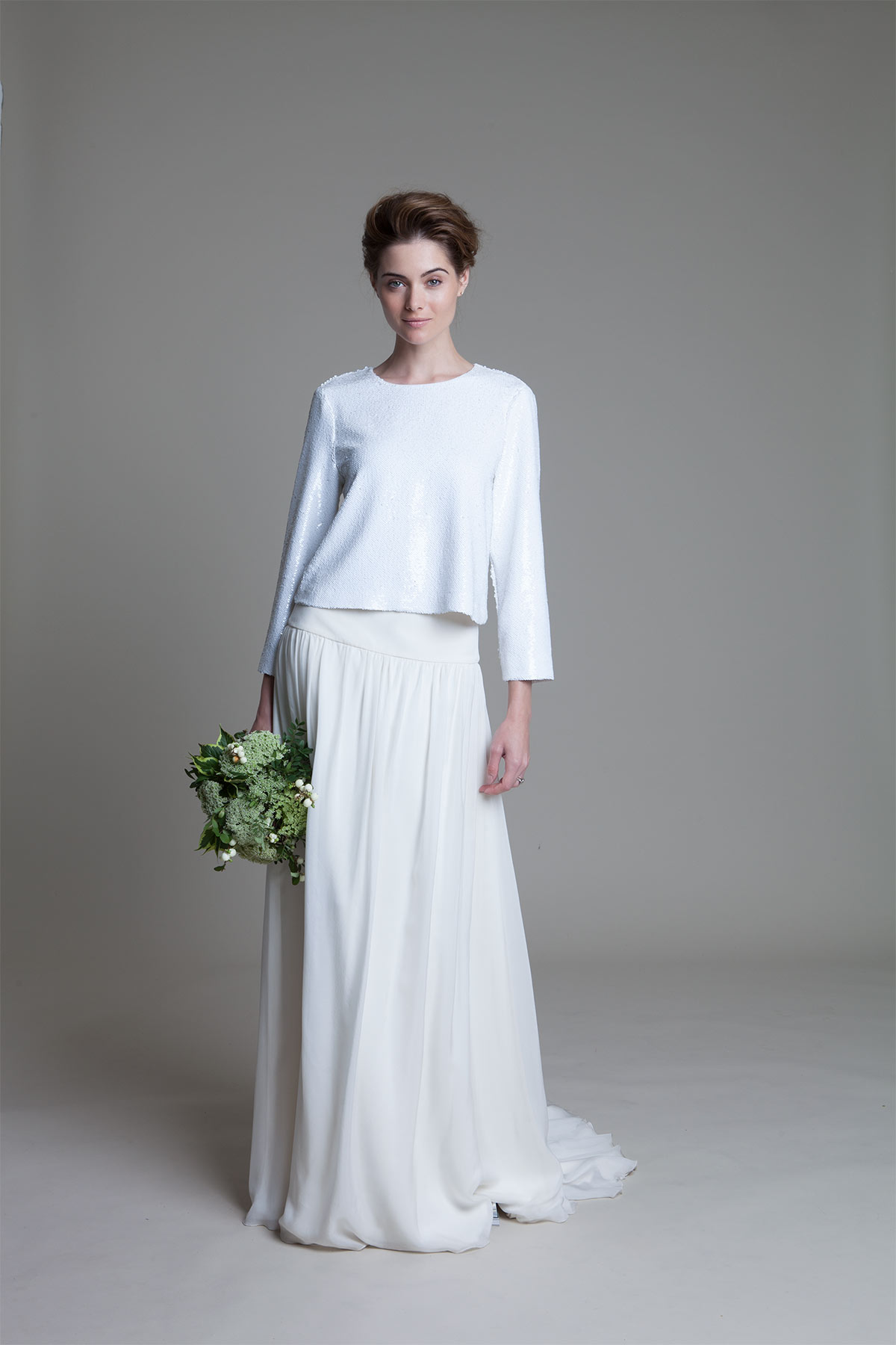 Laura ivory chiffon skirt with drop waist and box sequin long sleeve top wedding dress by Halfpenny London