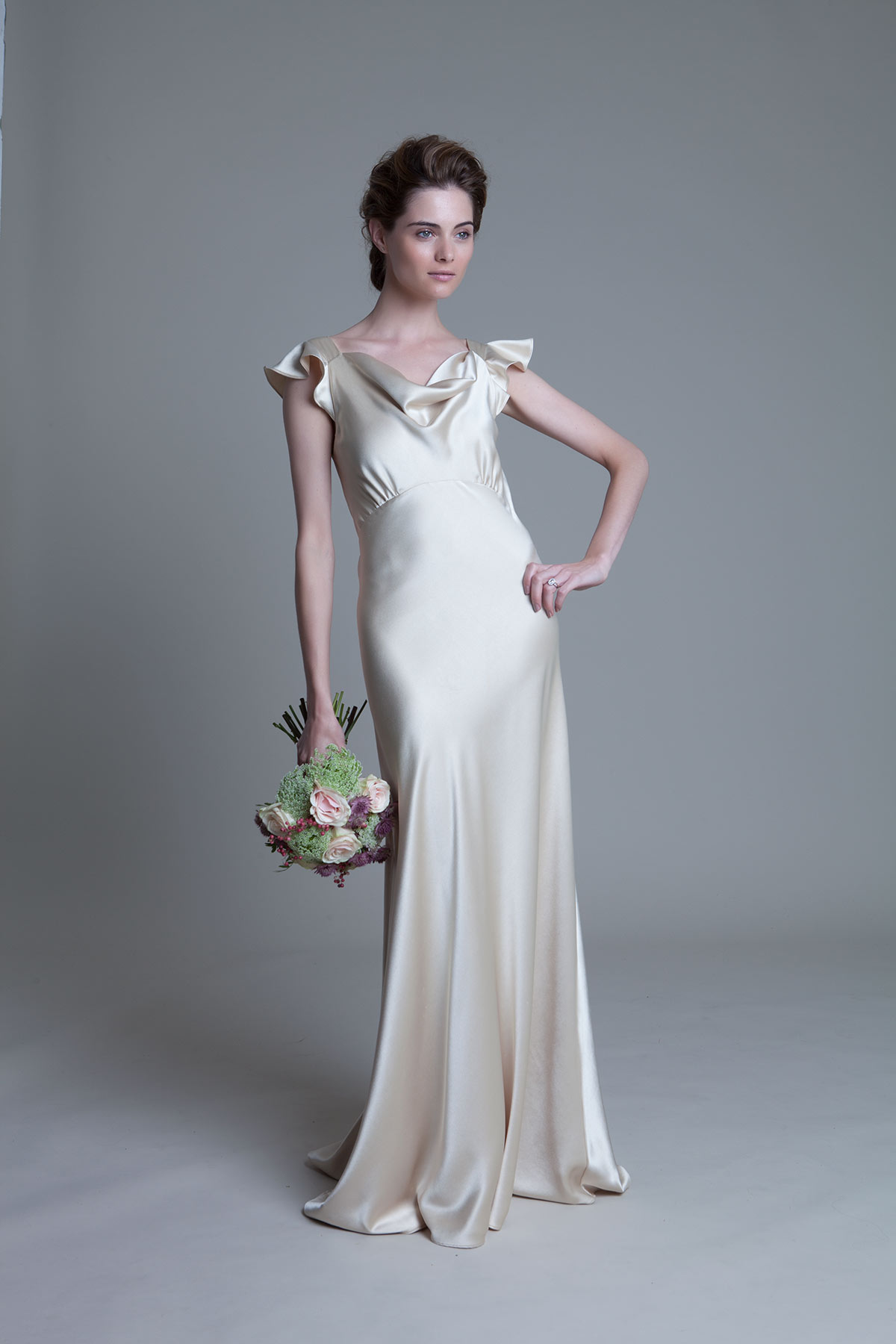 Sarah soft cowl neck and empire line bias cut satin in greige bridal wedding dress by Halfpenny London
