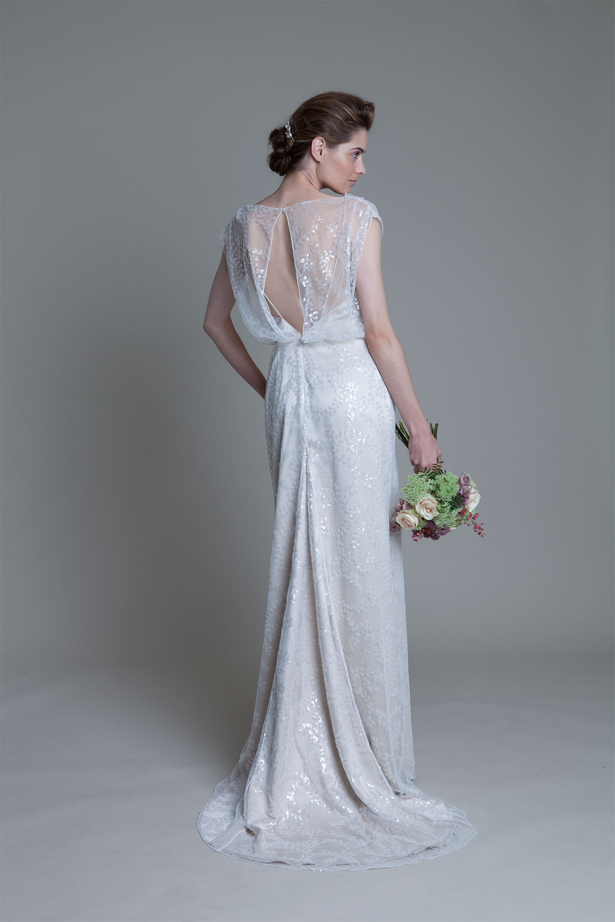 Back view of the Lydia sequin ivory bridal wedding dress by Halfpenny London